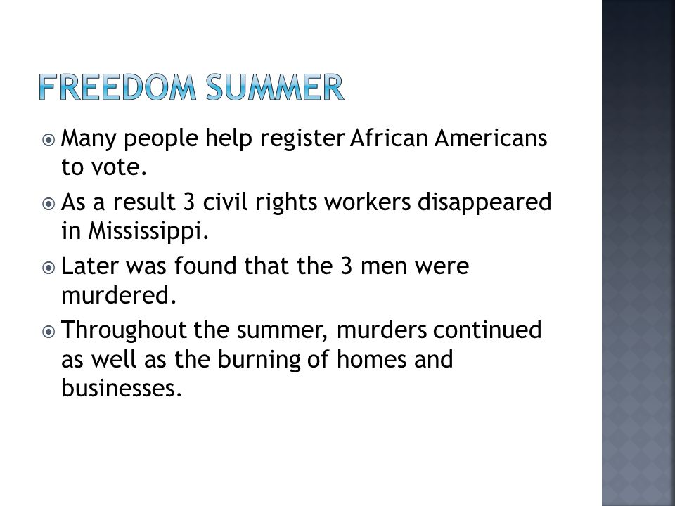  Many people help register African Americans to vote.