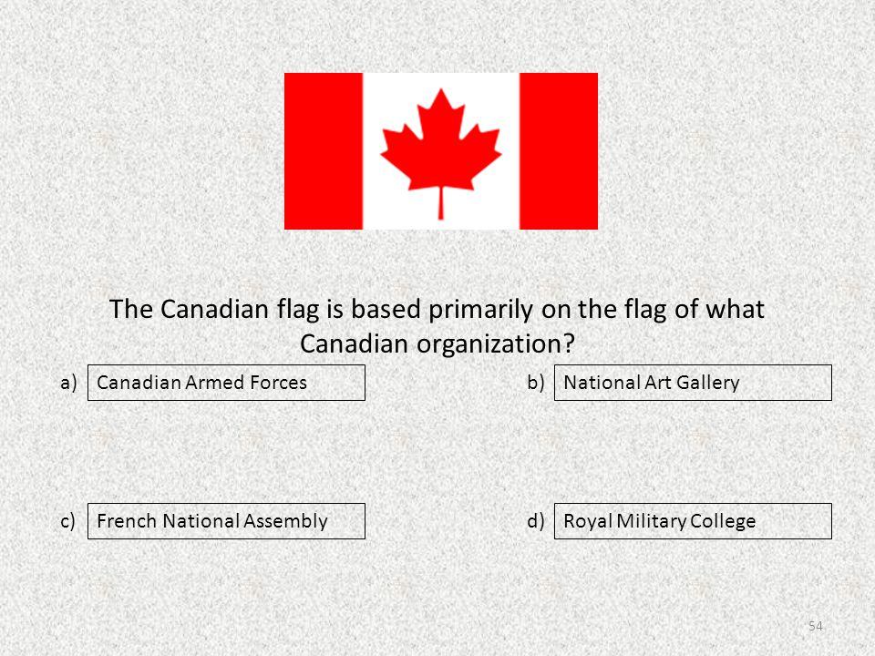 The Canadian flag is based primarily on the flag of what Canadian organization.