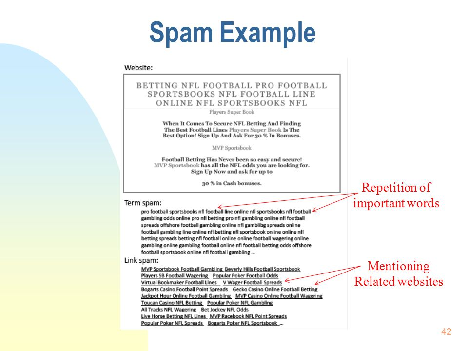 Spam Example 42 Repetition of important words Mentioning Related websites