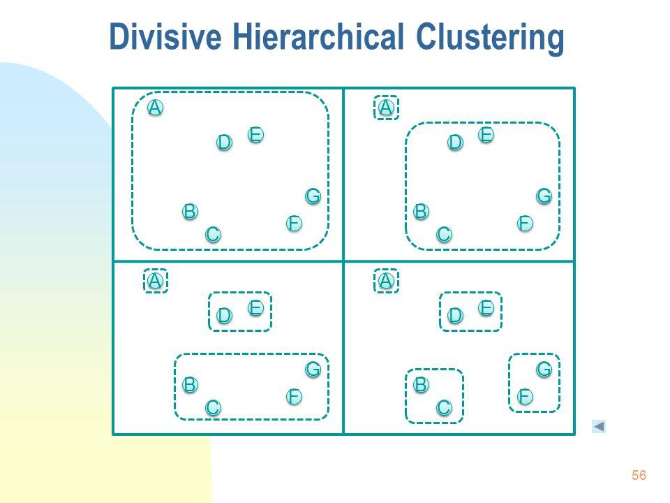 F F A A C C E E B B G G D D F F A A C C E E B B G G D D F F A A C C E E B B G G D D F F A A C C E E B B G G D D Divisive Hierarchical Clustering 56