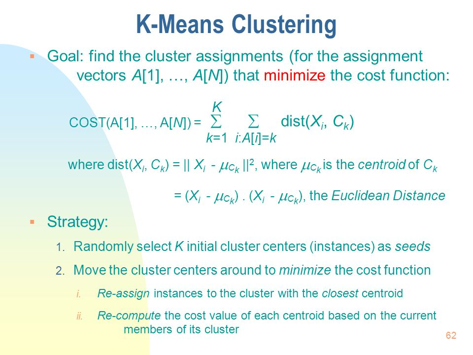 K-Means Clustering  Goal: find the cluster assignments (for the assignment vectors A[1], …, A[N]) that minimize the cost function: COST(A[1], …, A[N]
