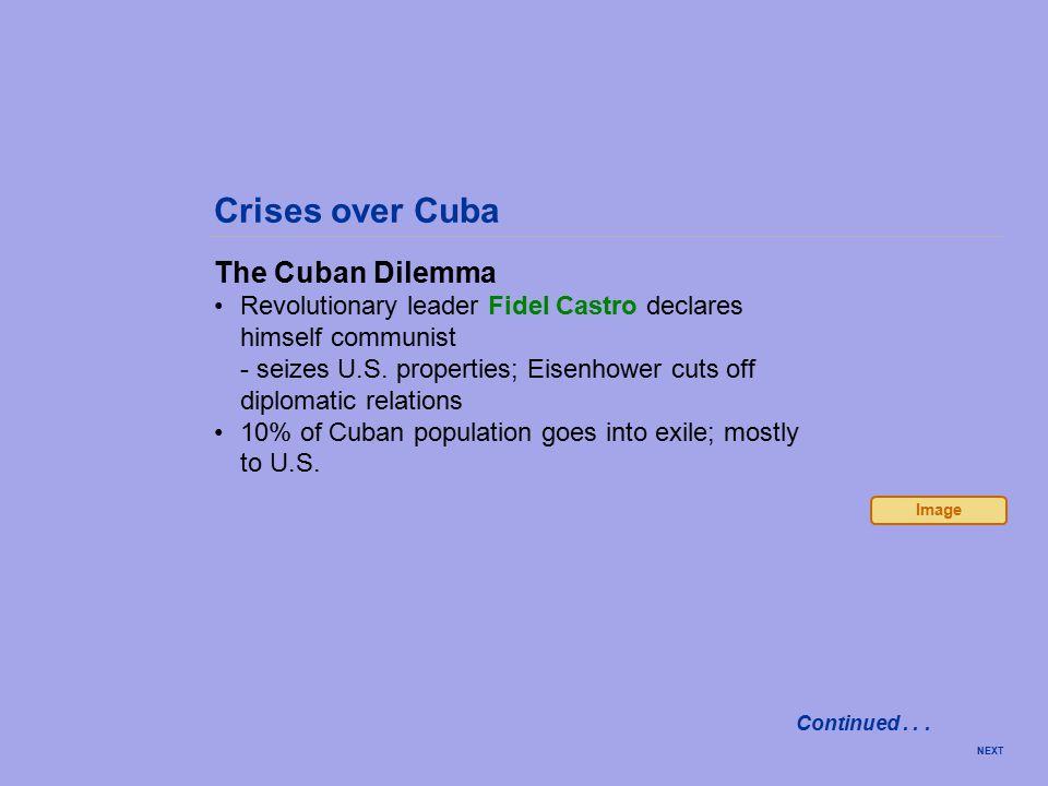 Crises over Cuba The Cuban Dilemma Revolutionary leader Fidel Castro declares himself communist - seizes U.S.