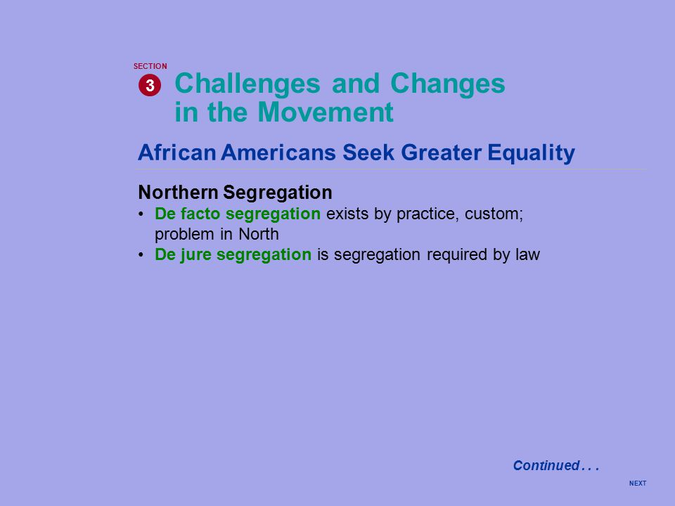 NEXT African Americans Seek Greater Equality Northern Segregation De facto segregation exists by practice, custom; problem in North De jure segregation is segregation required by law Challenges and Changes in the Movement 3 SECTION Continued...