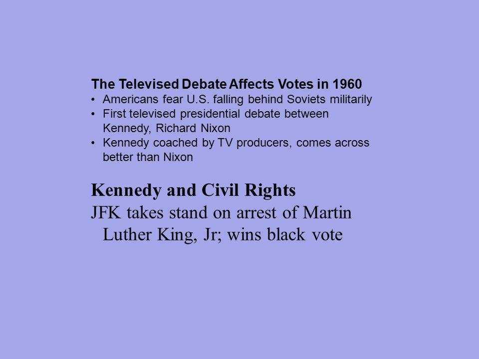 The Televised Debate Affects Votes in 1960 Americans fear U.S.