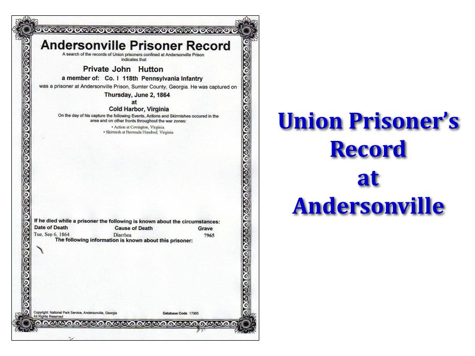 Union Prisoner's Record at Andersonville
