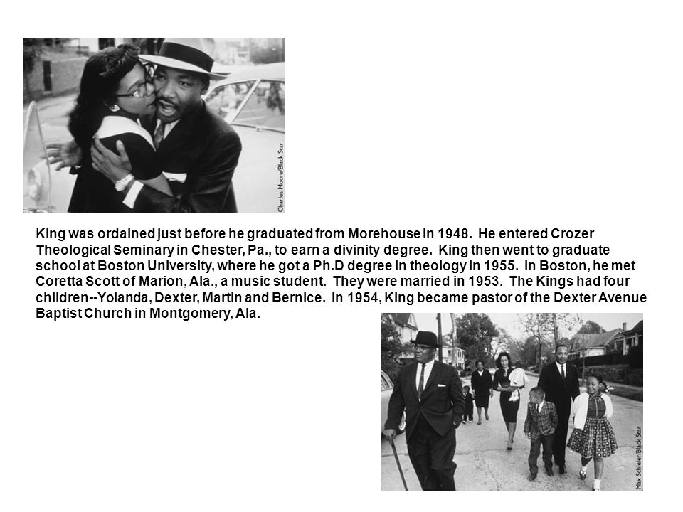 King's civil rights activities began with a protest of Montgomery's segregated bus system in 1955.