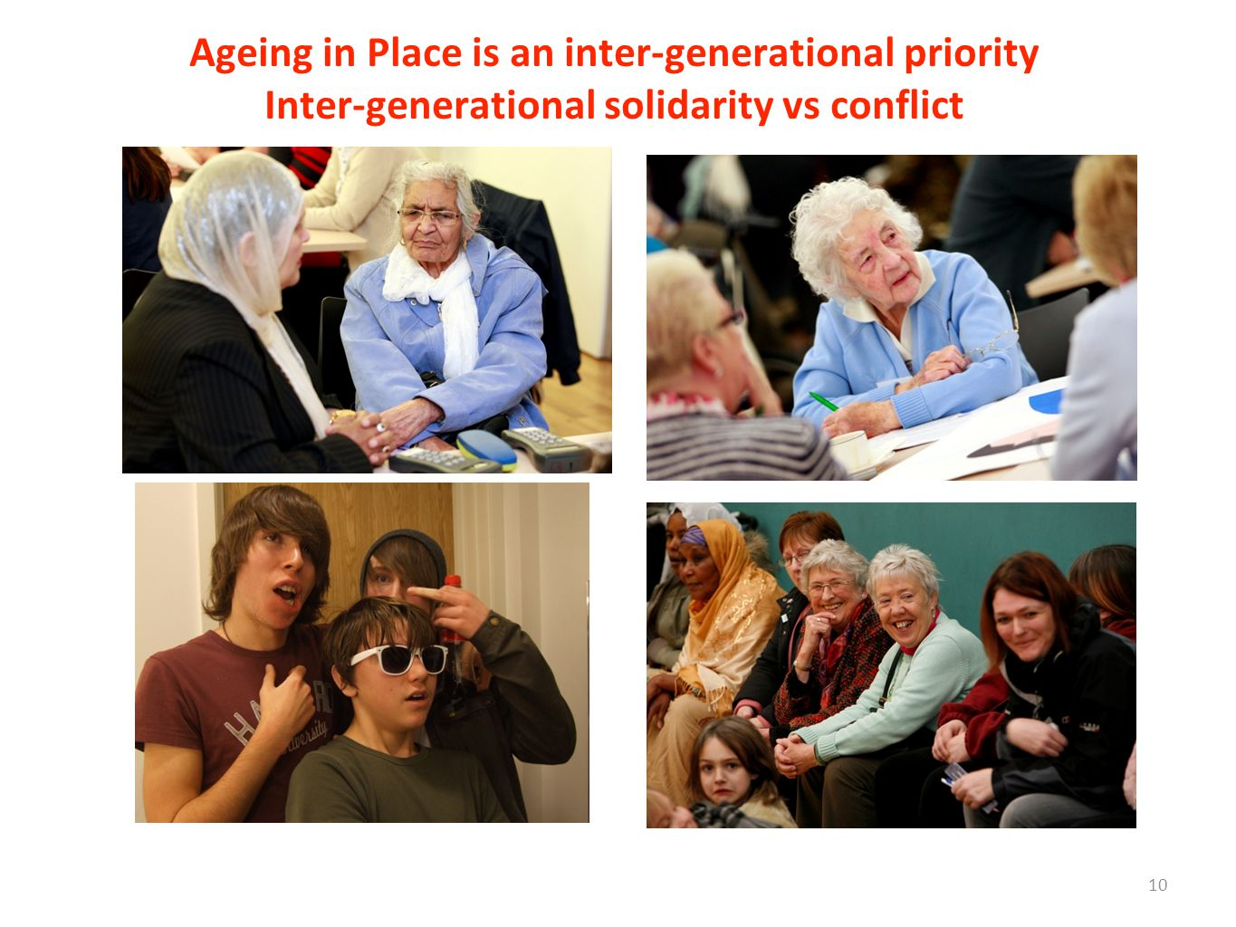 Ageing in Place is an inter-generational priority Inter-generational solidarity vs conflict 10
