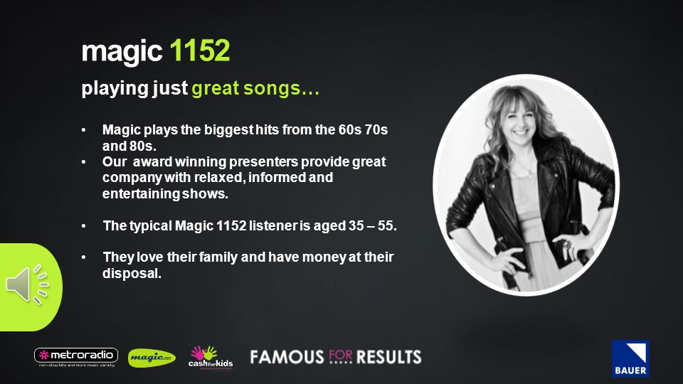 magic 1152 Magic plays the biggest hits from the 60s 70s and 80s.