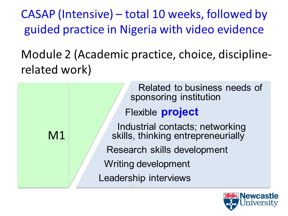 CASAP (Intensive) – total 10 weeks, followed by guided practice in Nigeria with video evidence Module 2 (Academic practice, choice, discipline- related work) M1 Related to business needs of sponsoring institution Flexible project Industrial contacts; networking skills, thinking entrepreneurially Research skills development Writing development Leadership interviews