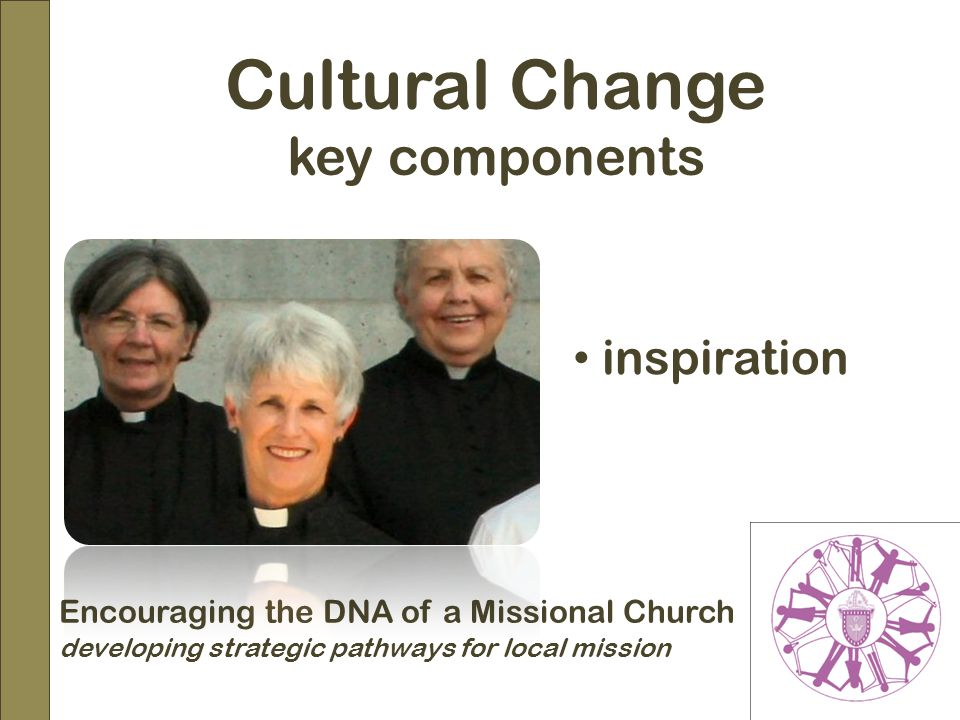 Encouraging the DNA of a Missional Church developing strategic pathways for local mission Cultural Change key components inspiration