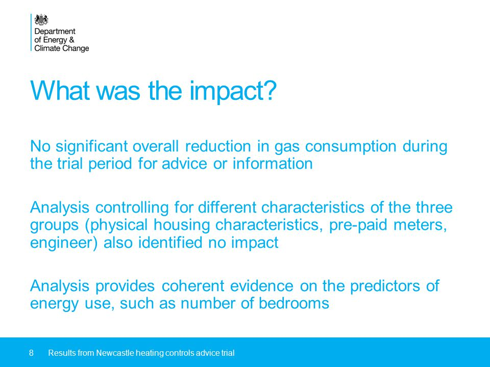 What was the impact? No significant overall reduction in gas consumption during the trial period for advice or information Analysis controlling for di