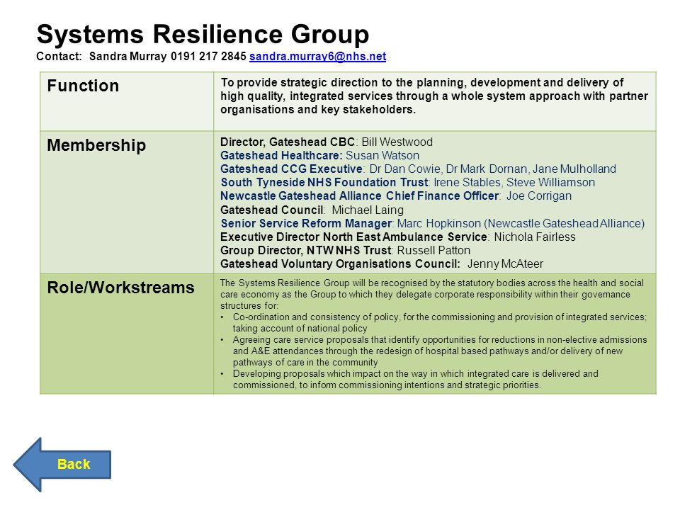 Systems Resilience Group Contact: Sandra Murray 0191 217 2845 sandra.murray6@nhs.netsandra.murray6@nhs.net Back Function To provide strategic direction to the planning, development and delivery of high quality, integrated services through a whole system approach with partner organisations and key stakeholders.