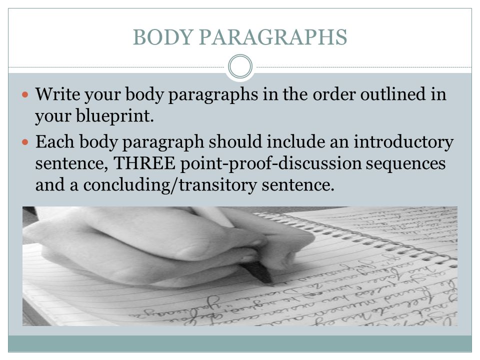BODY PARAGRAPHS Write your body paragraphs in the order outlined in your blueprint.