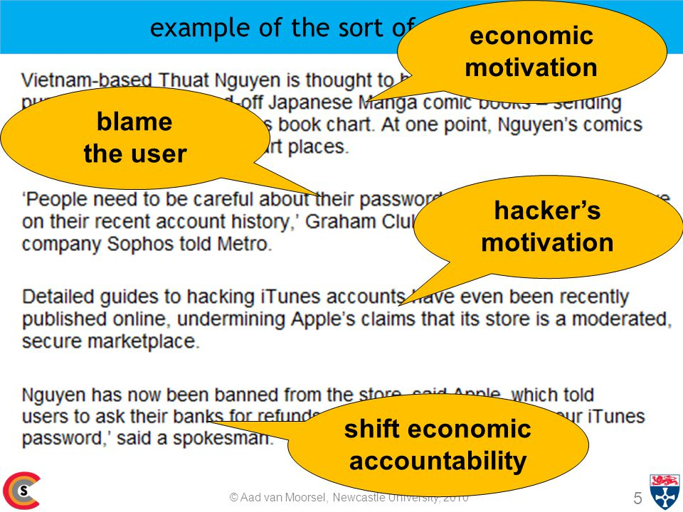 example of the sort of problems 5 © Aad van Moorsel, Newcastle University, 2010 economic motivation blame the user hacker's motivation shift economic accountability