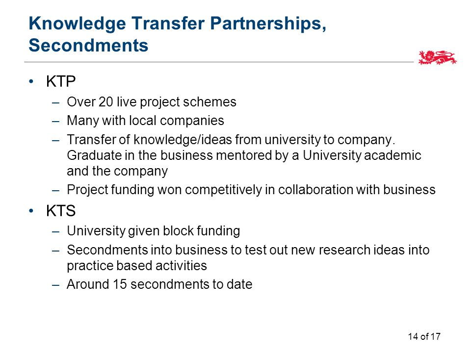Knowledge Transfer Partnerships, Secondments KTP –Over 20 live project schemes –Many with local companies –Transfer of knowledge/ideas from university to company.