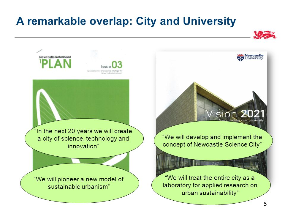 A remarkable overlap: City and University 5 We will develop and implement the concept of Newcastle Science City In the next 20 years we will create a city of science, technology and innovation We will pioneer a new model of sustainable urbanism We will treat the entire city as a laboratory for applied research on urban sustainability