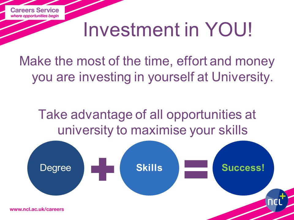 Investment in YOU! Make the most of the time, effort and money you are investing in yourself at University. Take advantage of all opportunities at uni