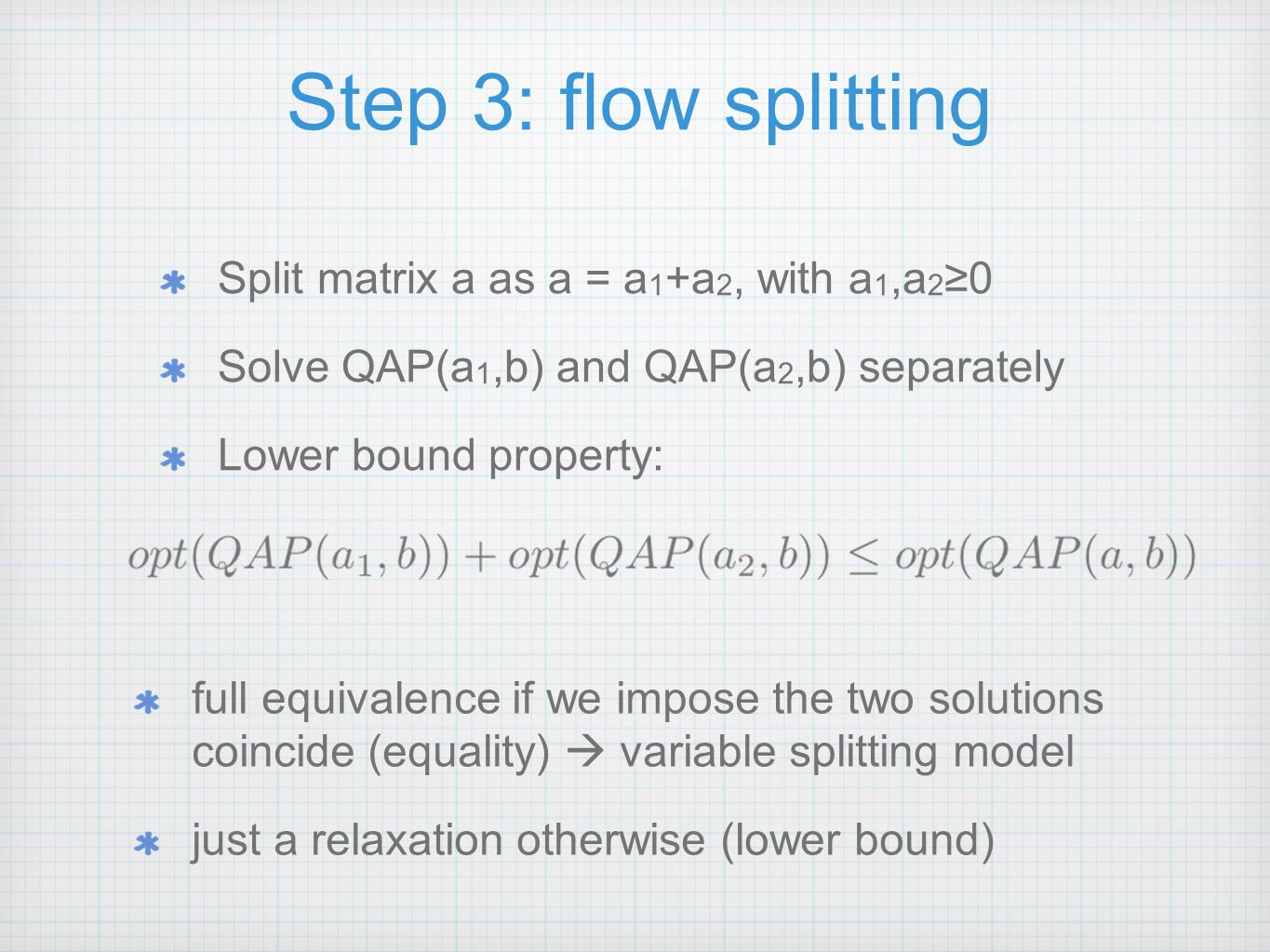 Step 3: flow splitting Split matrix a as a = a 1 +a 2, with a 1,a 2 ≥0 Solve QAP(a 1,b) and QAP(a 2,b) separately Lower bound property: full equivalence if we impose the two solutions coincide (equality)  variable splitting model just a relaxation otherwise (lower bound)