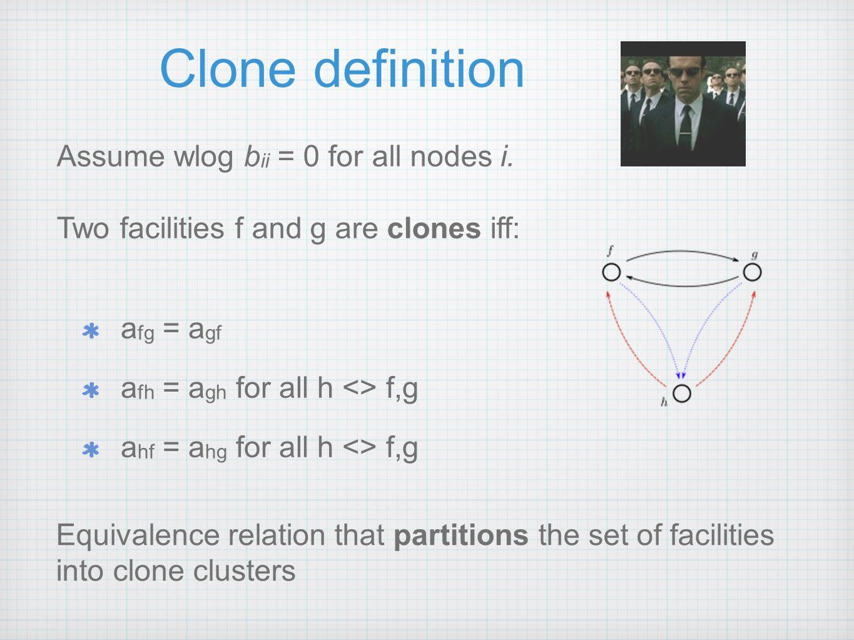 Clone definition a fg = a gf a fh = a gh for all h <> f,g a hf = a hg for all h <> f,g Assume wlog b ii = 0 for all nodes i.