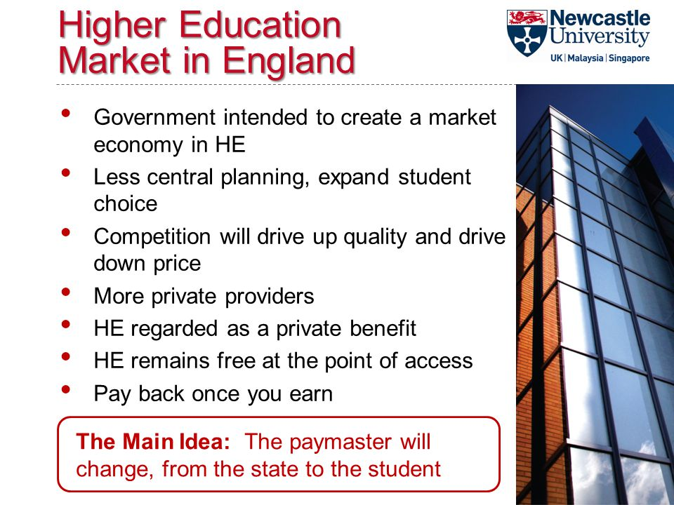 Higher Education Market in England Government intended to create a market economy in HE Less central planning, expand student choice Competition will drive up quality and drive down price More private providers HE regarded as a private benefit HE remains free at the point of access Pay back once you earn The Main Idea: The paymaster will change, from the state to the student