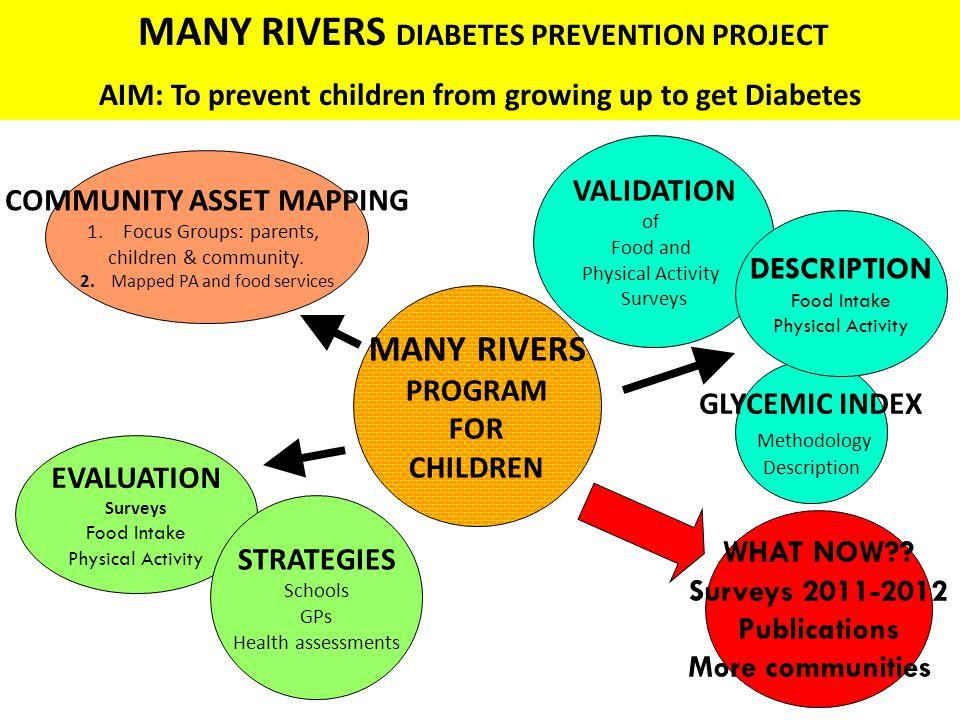GLYCEMIC INDEX Methodology Description EVALUATION Surveys Food Intake Physical Activity MANY RIVERS PROGRAM FOR CHILDREN VALIDATION of Food and Physical Activity Surveys COMMUNITY ASSET MAPPING 1.Focus Groups: parents, children & community.