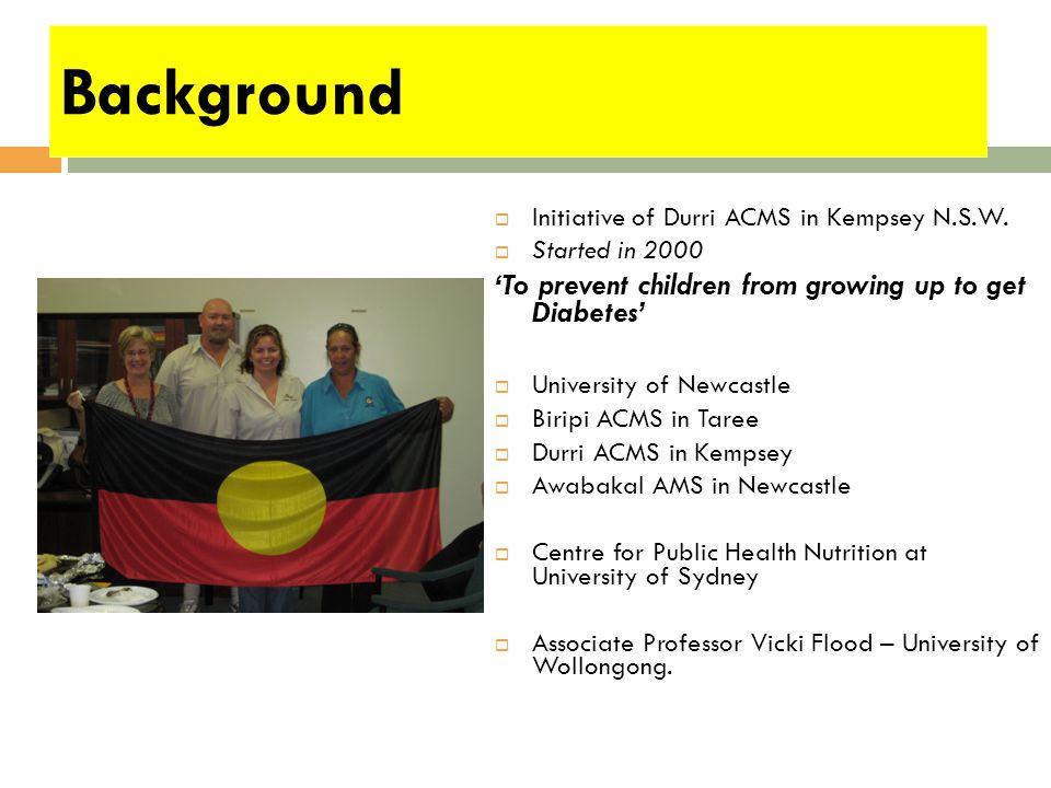 Background  Initiative of Durri ACMS in Kempsey N.S.W.