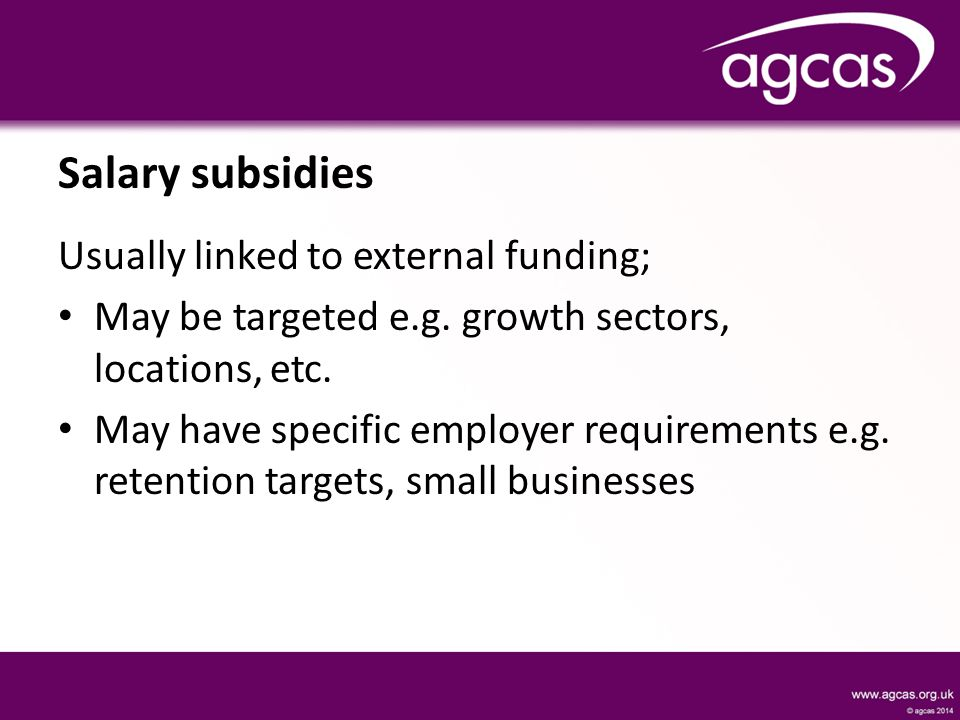 Salary subsidies Usually linked to external funding; May be targeted e.g.