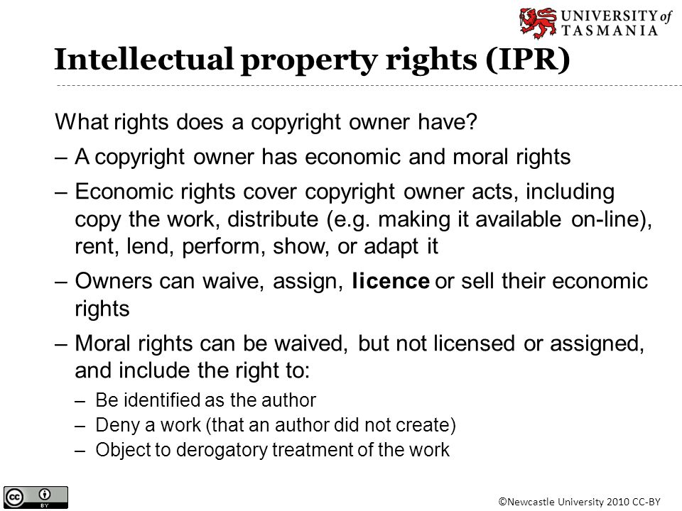 Intellectual property rights (IPR) What rights does a copyright owner have? –A copyright owner has economic and moral rights –Economic rights cover co