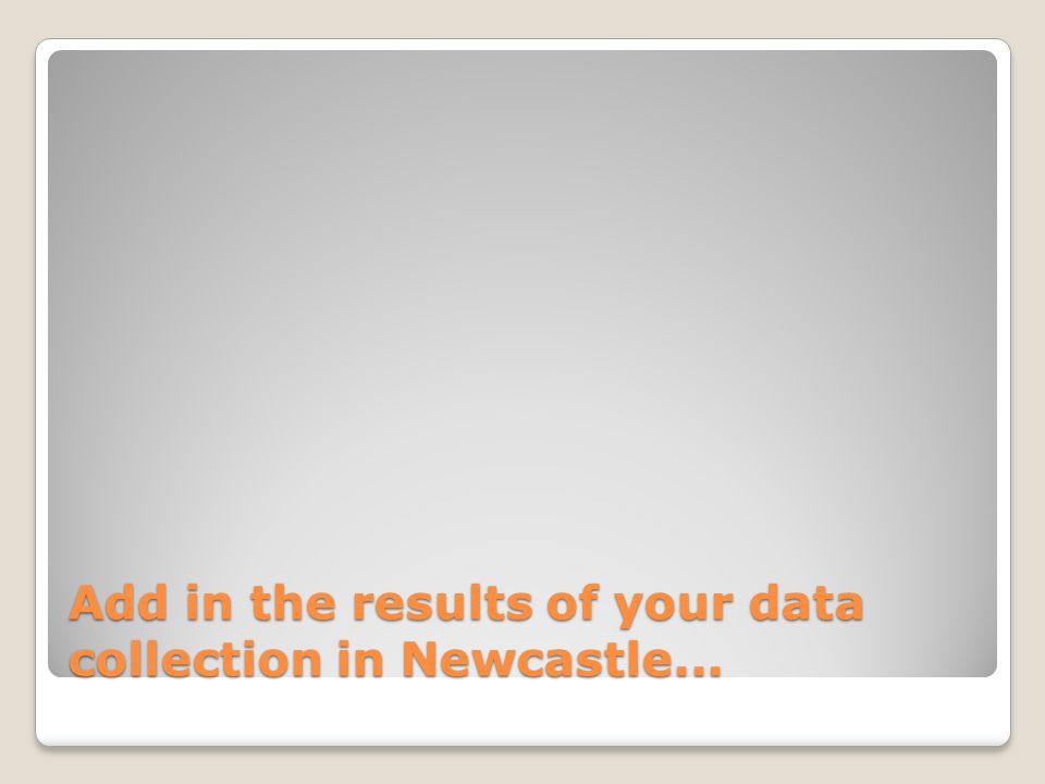Add in the results of your data collection in Newcastle...
