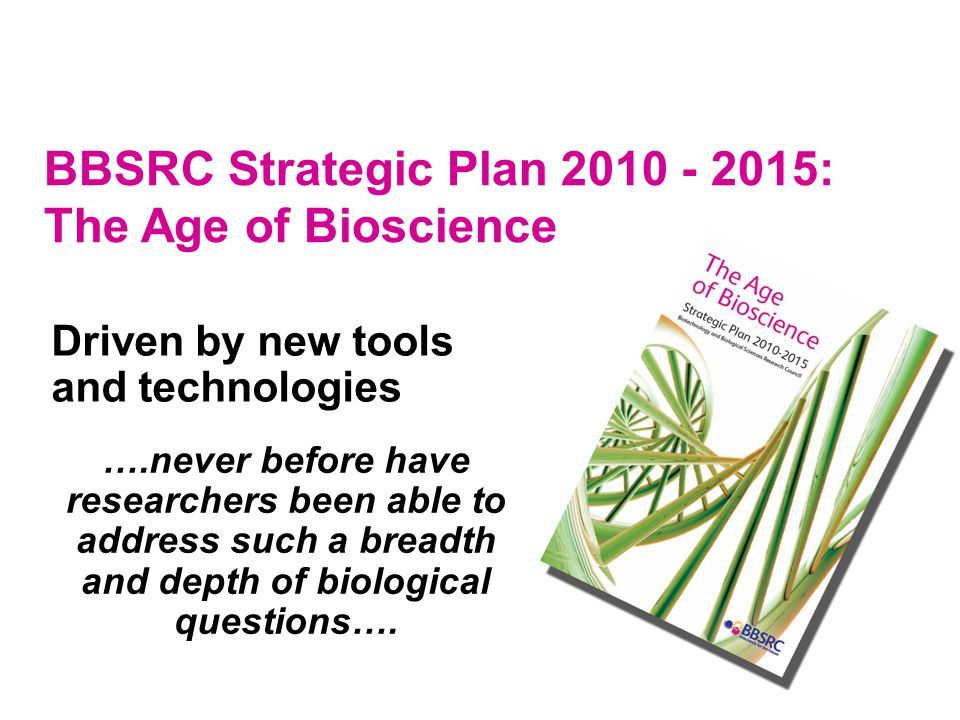 Three crucial enabling themes Three major strategic science priorities World-class bioscience