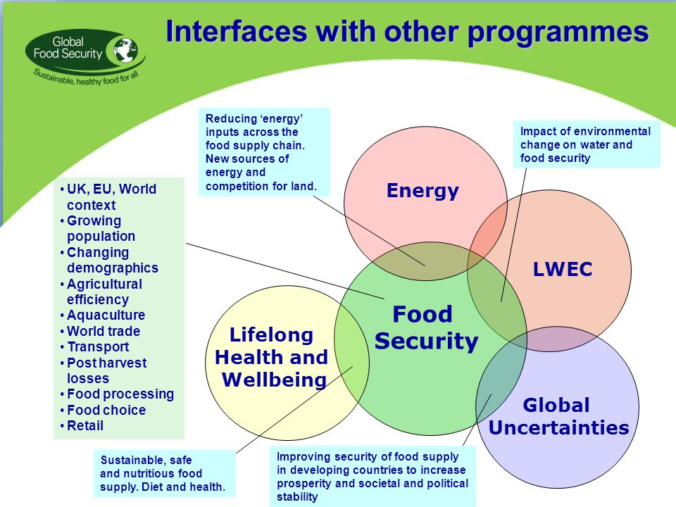 Interfaces with other programmes Impact of environmental change on water and food security Improving security of food supply in developing countries to increase prosperity and societal and political stability Sustainable, safe and nutritious food supply.
