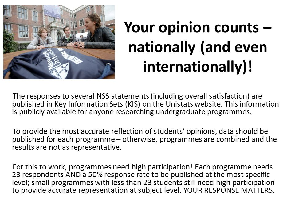 Your opinion counts – nationally (and even internationally).