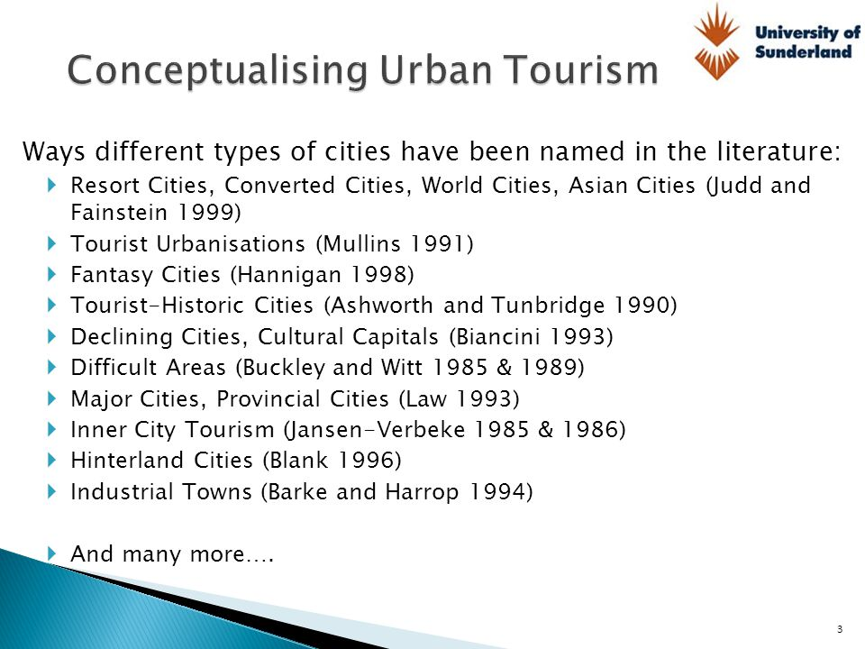 Ways different types of cities have been named in the literature:  Resort Cities, Converted Cities, World Cities, Asian Cities (Judd and Fainstein 19