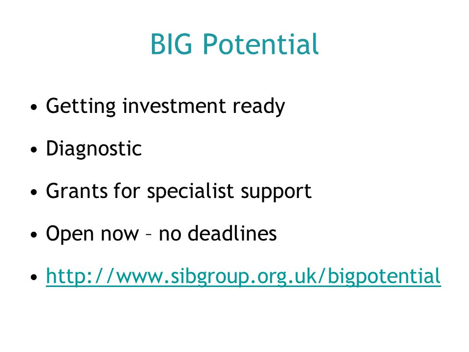 BIG Potential Getting investment ready Diagnostic Grants for specialist support Open now – no deadlines http://www.sibgroup.org.uk/bigpotential