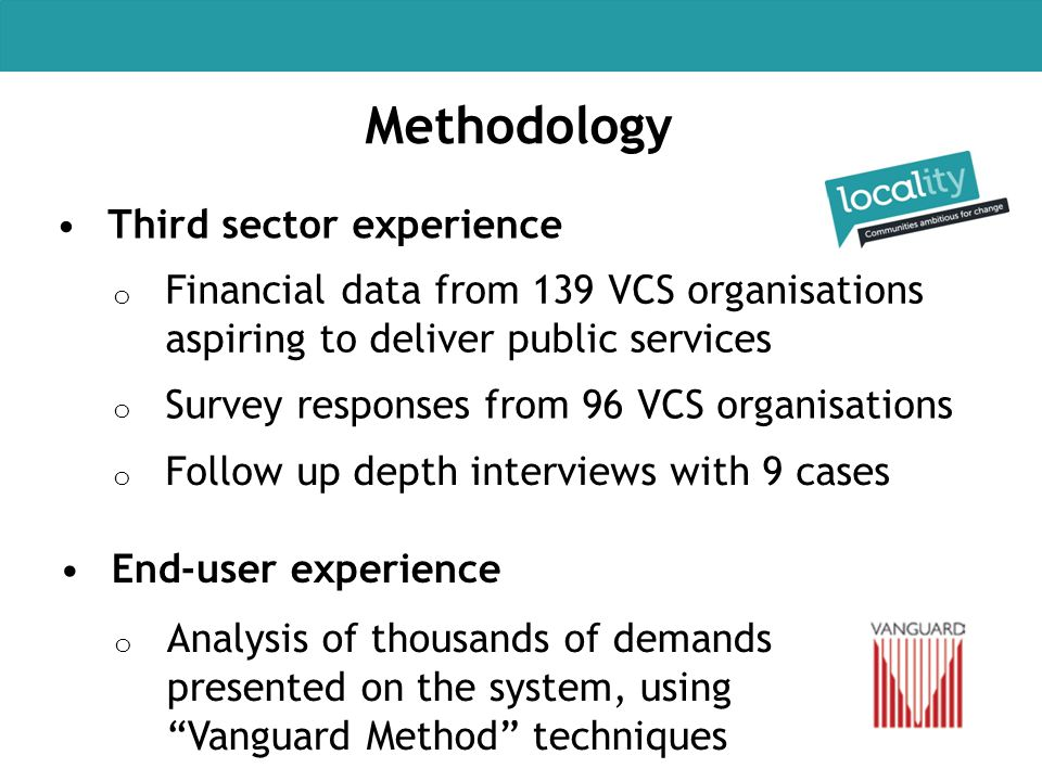 Methodology Third sector experience o Financial data from 139 VCS organisations aspiring to deliver public services o Survey responses from 96 VCS org