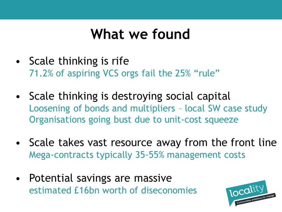 "What we found Scale thinking is rife 71.2% of aspiring VCS orgs fail the 25% ""rule"" Scale thinking is destroying social capital Loosening of bonds and"