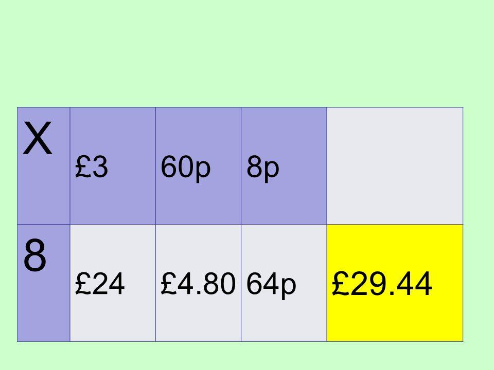 X £360p8p 8 £24£4.8064p £29.44