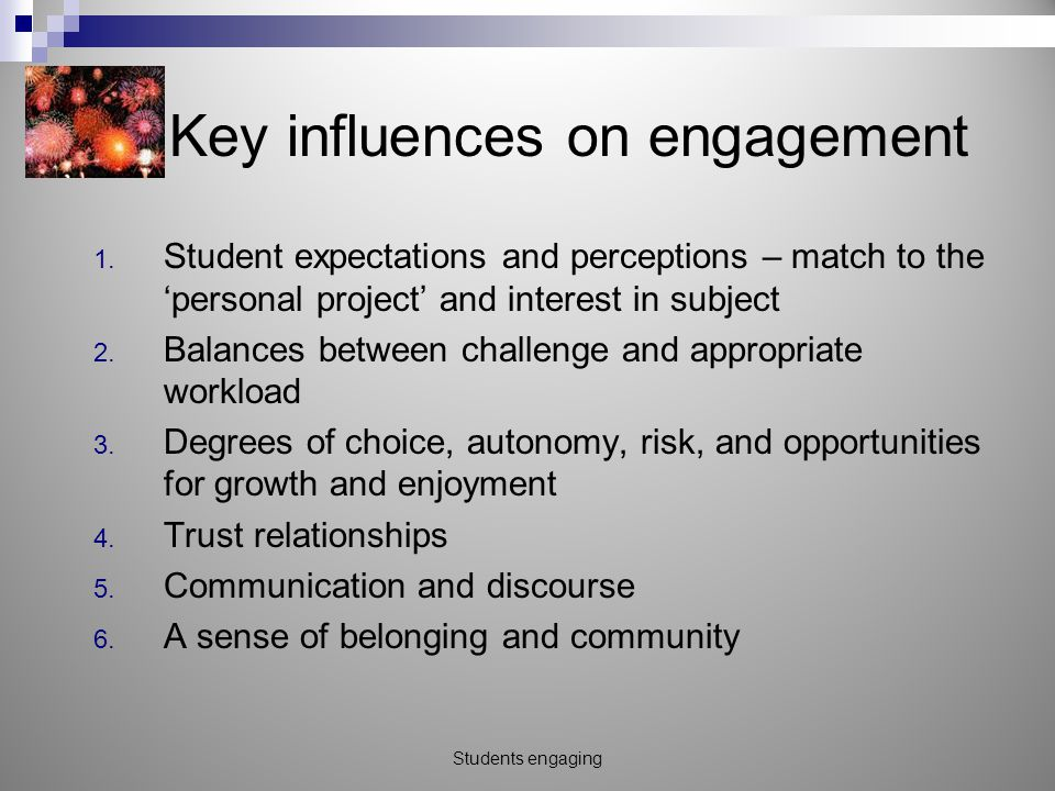Key influences on engagement 1.