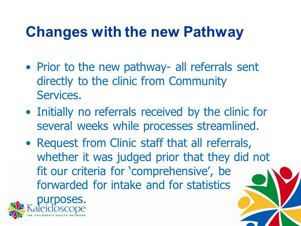 Changes with the new Pathway Prior to the new pathway- all referrals sent directly to the clinic from Community Services.