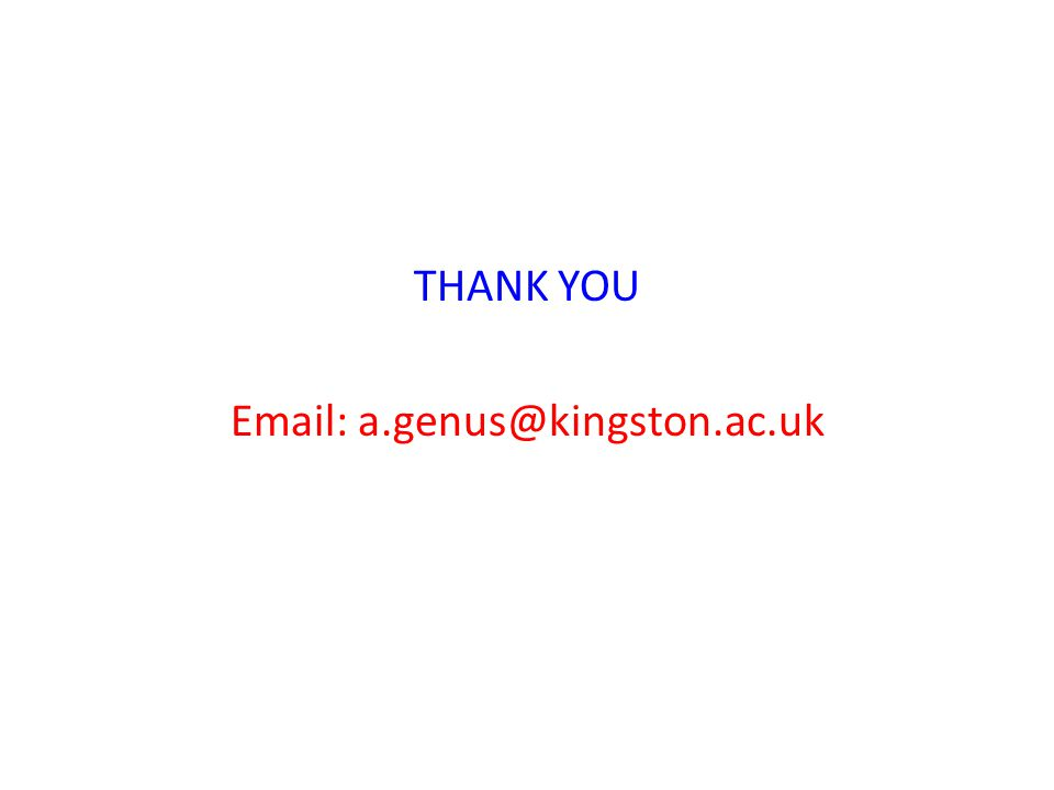 THANK YOU Email: a.genus@kingston.ac.uk