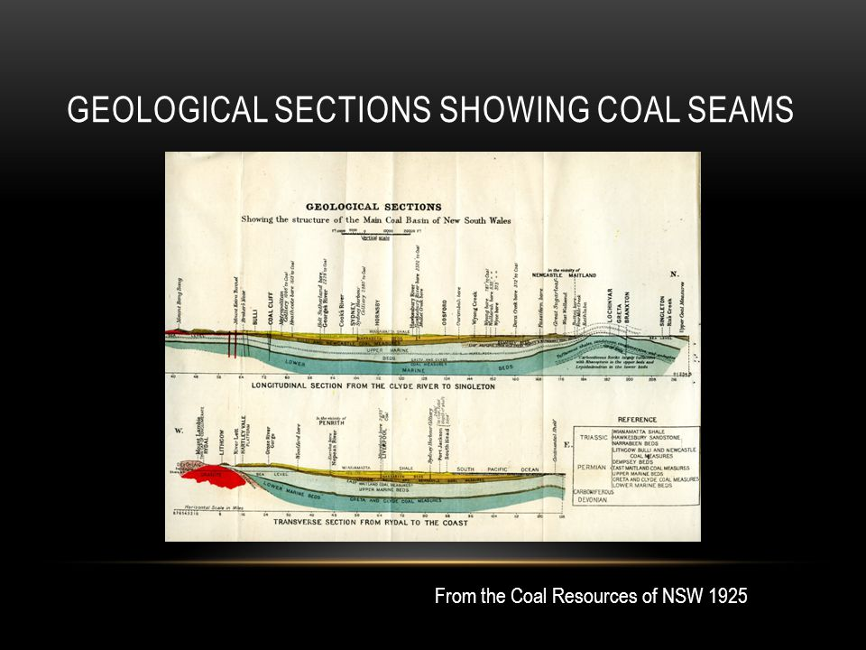 GEOLOGICAL SECTIONS SHOWING COAL SEAMS From the Coal Resources of NSW 1925