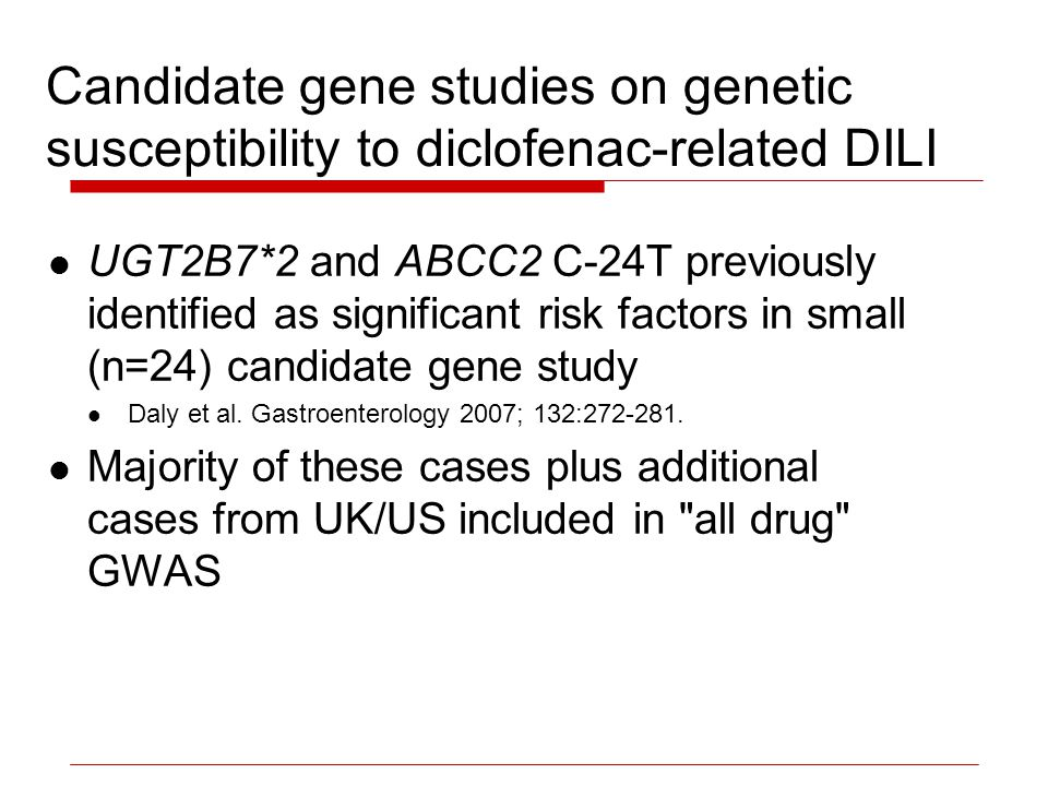 Candidate gene studies on genetic susceptibility to diclofenac-related DILI UGT2B7*2 and ABCC2 C-24T previously identified as significant risk factors