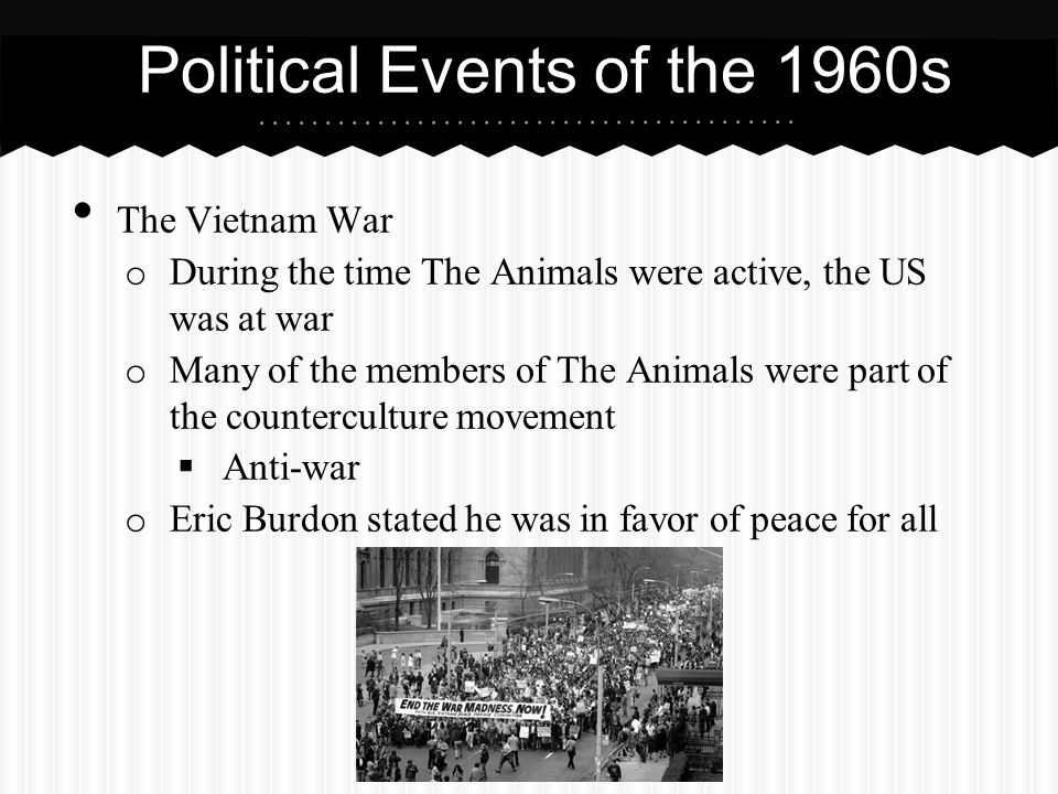 The Vietnam War o During the time The Animals were active, the US was at war o Many of the members of The Animals were part of the counterculture move