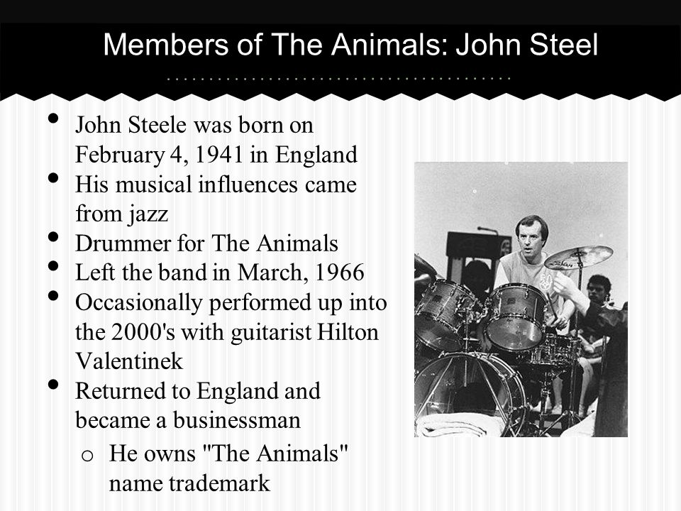 Members of The Animals: John Steel John Steele was born on February 4, 1941 in England His musical influences came from jazz Drummer for The Animals L