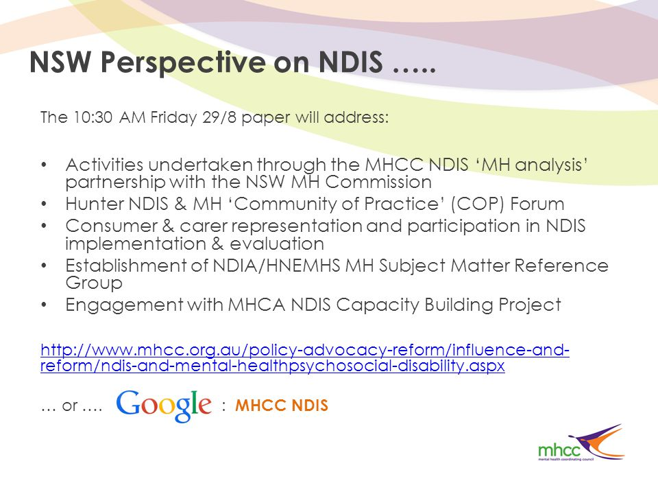 NSW Perspective on NDIS …..