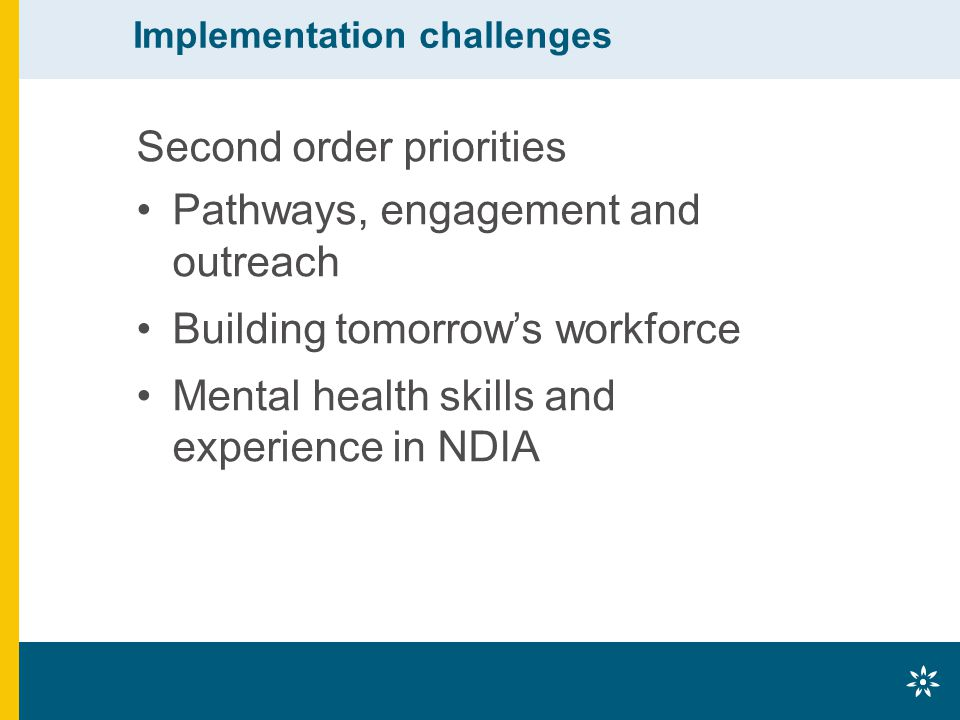 Implementation challenges Second order priorities Pathways, engagement and outreach Building tomorrow's workforce Mental health skills and experience in NDIA