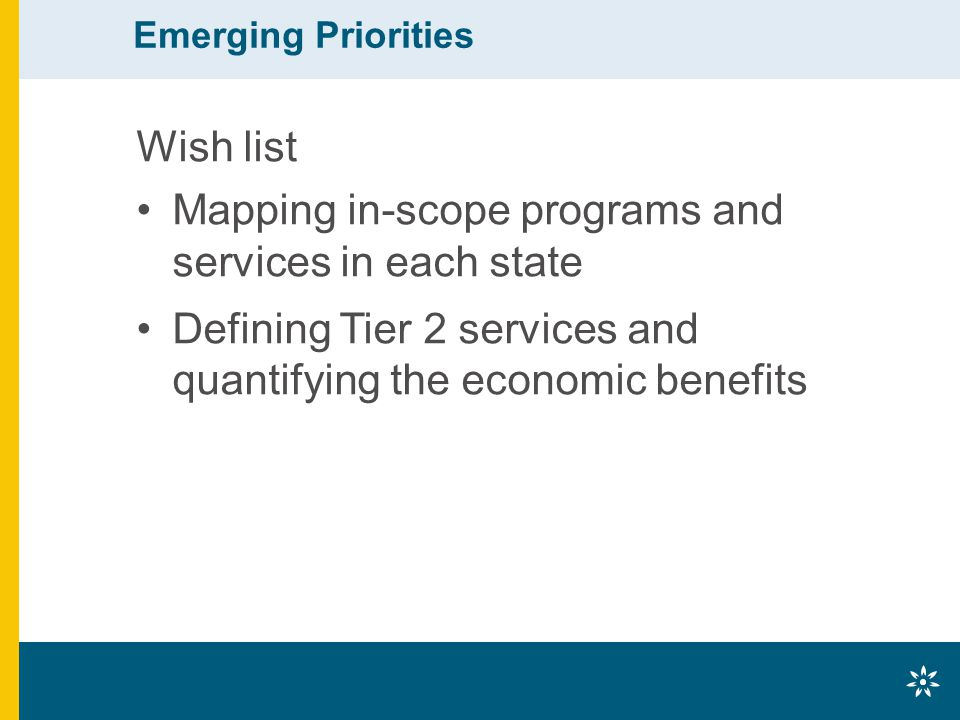 Emerging Priorities Wish list Mapping in-scope programs and services in each state Defining Tier 2 services and quantifying the economic benefits