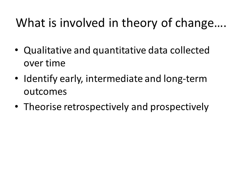 What is involved in theory of change….