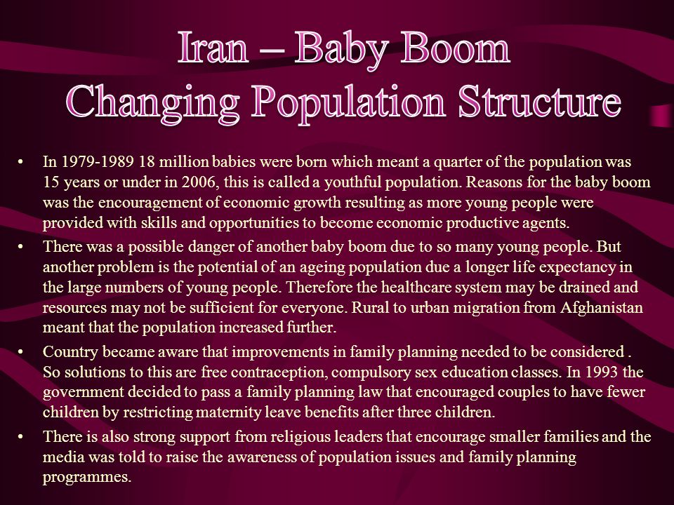 In 1979-1989 18 million babies were born which meant a quarter of the population was 15 years or under in 2006, this is called a youthful population.