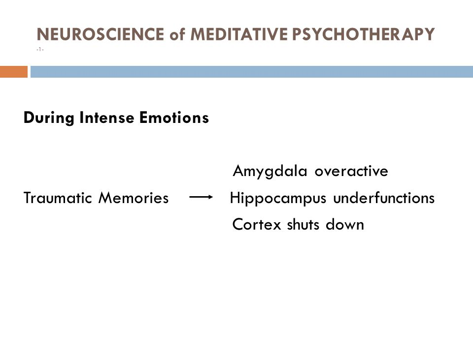 NEUROSCIENCE of MEDITATIVE PSYCHOTHERAPY -1- 8 During Intense Emotions Amygdala overactive Traumatic Memories Hippocampus underfunctions Cortex shuts down